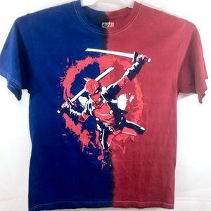 NWOT Marvel Deadpool Graphic Blue/Red T-Shirt Sz L